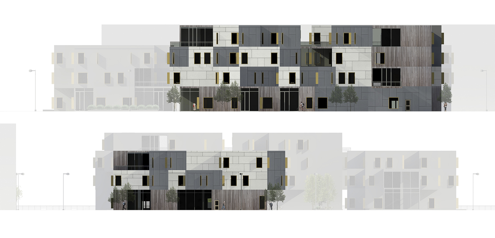 Bloc70 East and West Elevations